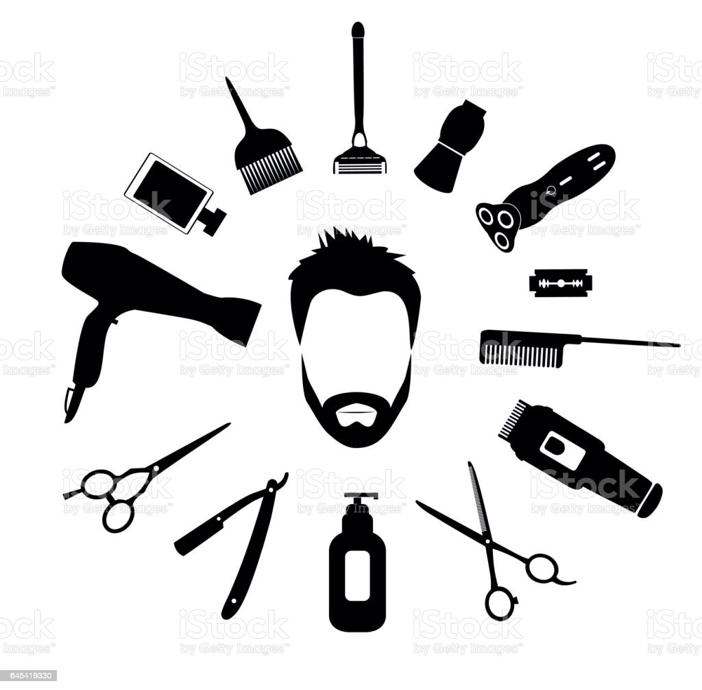 Barber Tools And Haircut Icons Set For Men Stock Vector Art u0026 More Images of Adult 645419330 ...