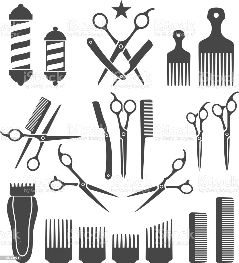 Barber Tools for Haircut black and white vector icon set vektör sanat illüstrasyonu