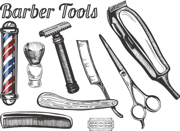 Barber tools set vector art illustration