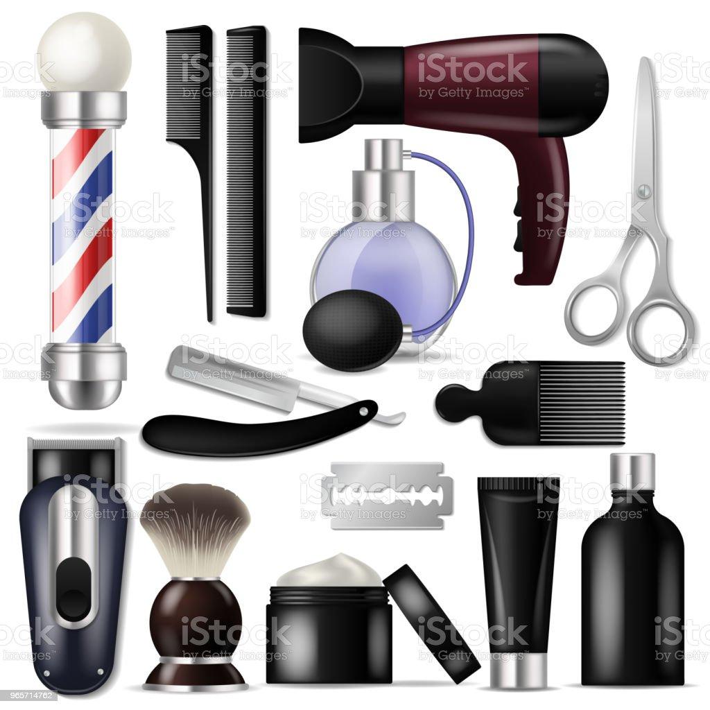 Barbeiro vector equipamentos barbearia ou cabeleireiro ferramentas para corte de cabelo ilustração barbear-conjunto de tesoura de lâmina de barbear e escova de cabelo ou secador de cabelo isolado no fundo branco - ilustração de arte em vetor