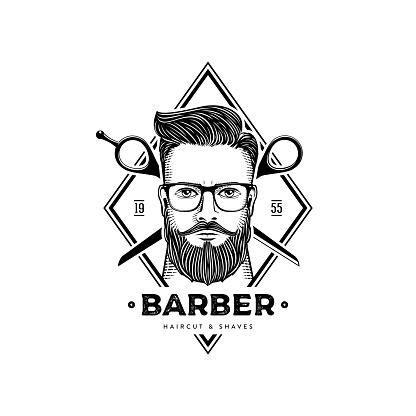 Barber with scissors rhombus white vector illustration