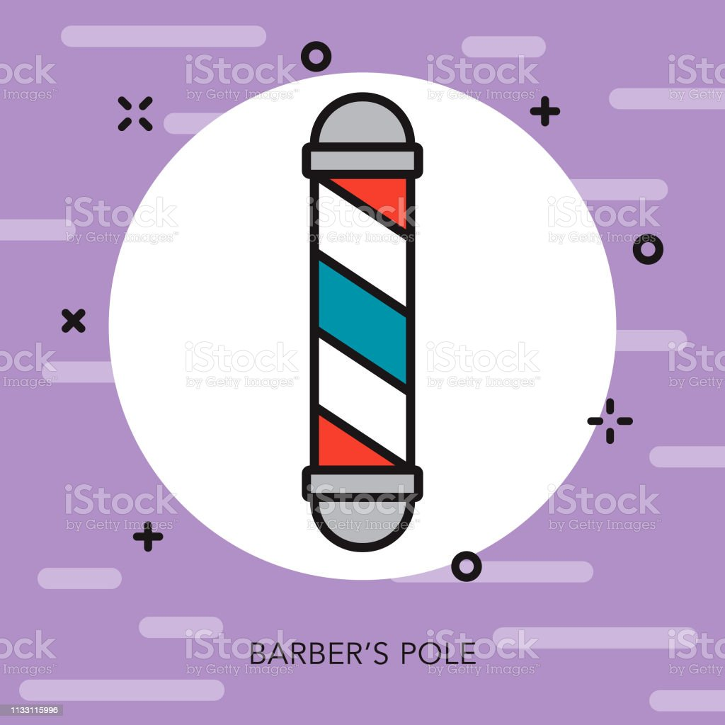 Barber's Pole Hairdresser Thin Line Icon vector art illustration