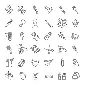 Barbershop and beauty salon vector icons set
