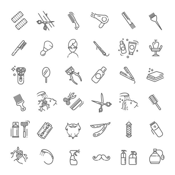 Barbershop and beauty salon vector icons set vector art illustration