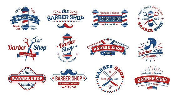 Barbershop badges. Vintage barber label, retro shave salon badge and gentleman haircut old sign vector illustration set