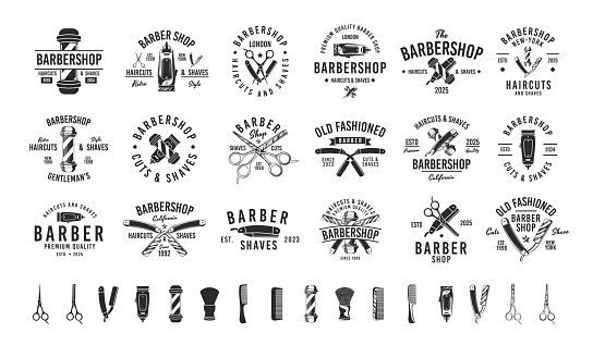 Barbershop, Barber, Haircut's salon vintage hipster logo templates. 18 Logos and 16 design elements for barber shop, haircut's salon. Barber shop emblems templates. Vector illustration