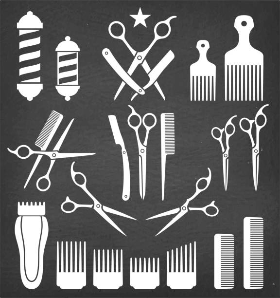 Barbershop Barber Tools for Haircut vector icon set vector art illustration