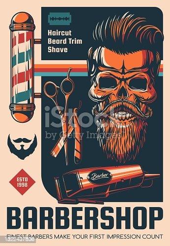 Barbershop, beard shave and haircut salon poster