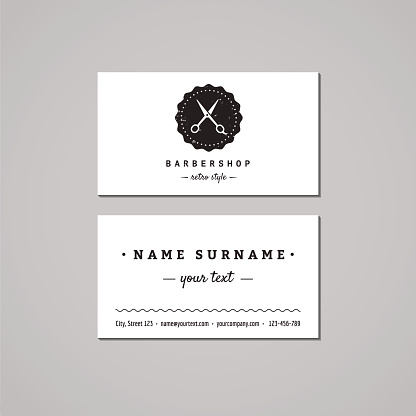 Barbershop business card design concept. Logo with scissors and badge.
