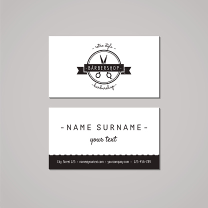 Barbershop business card design concept. Logo with scissors and ribbon