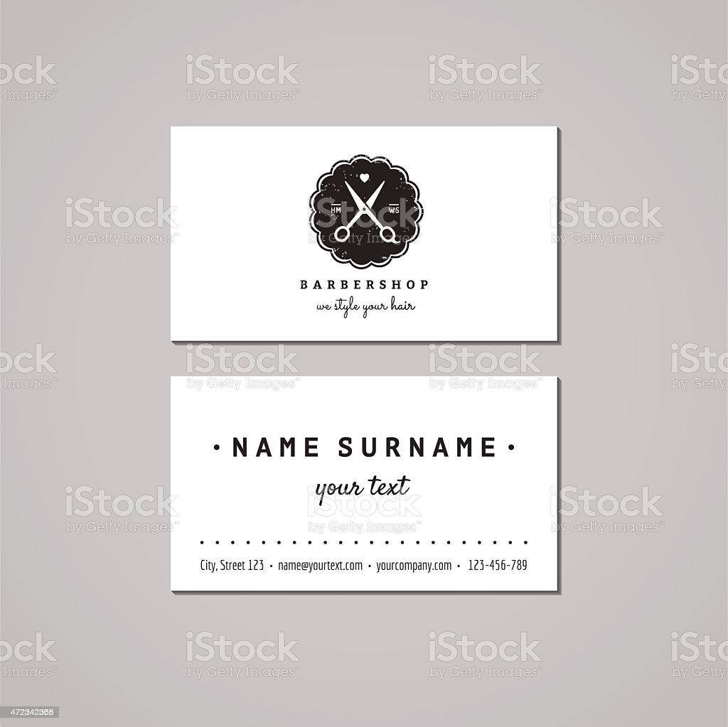256e2d8a5693 Барбершоп Визитная Карточка Дизайн Концепции Логотип С Ножницы ...