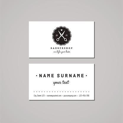 Barbershop business card design concept. Logo with scissors, heart, badge.
