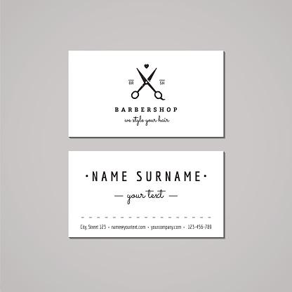 Barbershop business card design concept. Logo with scissors (vintage, hipster)