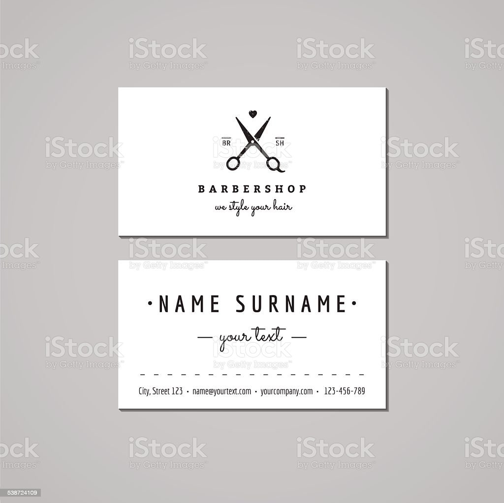 Barbershop business card design concept. Logo with scissors (vintage, hipster) vector art illustration