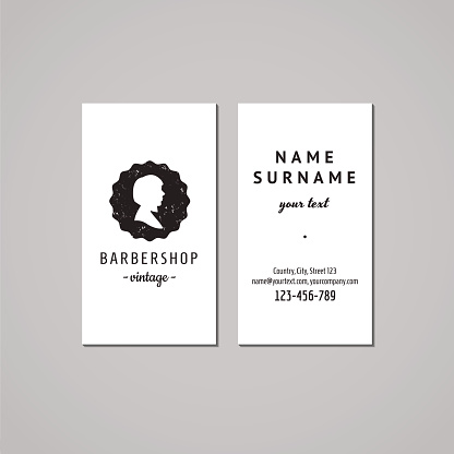 Barbershop business card design concept. Logo-badge with bob hairstyle woman
