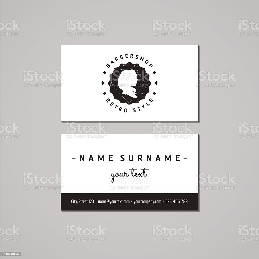 Barbershop Business Card Design Concept Logobadge With Long Hair ...