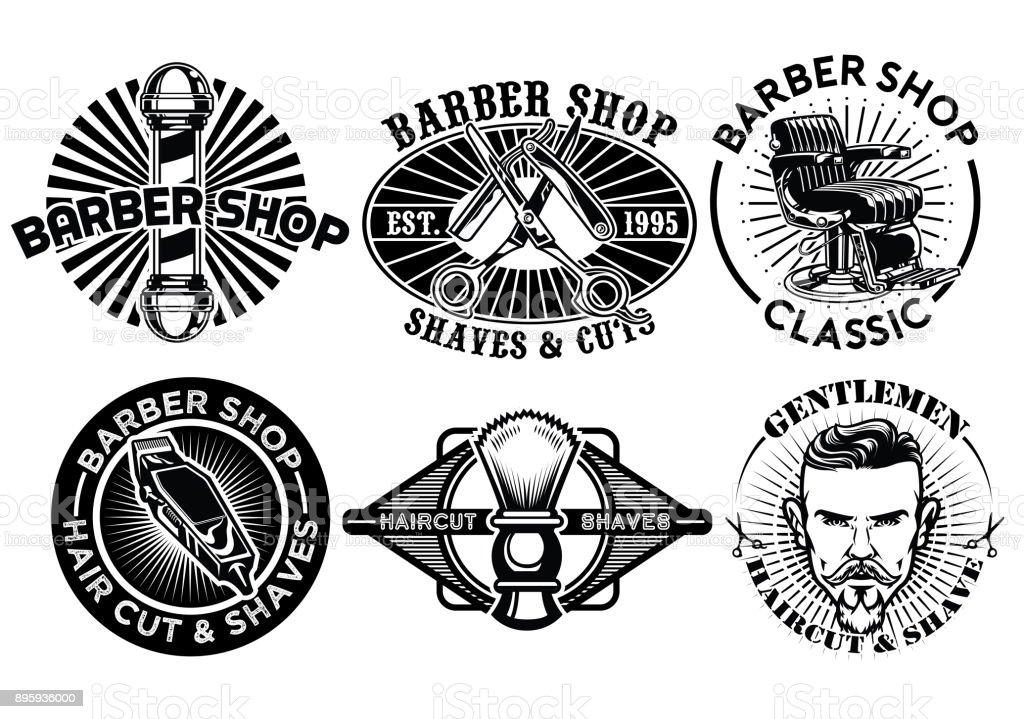 barbershop concept badge design set vector art illustration