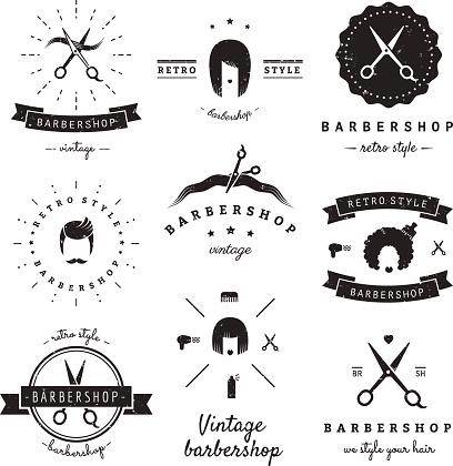Barbershop (hair salon) design elements vintage vector set.
