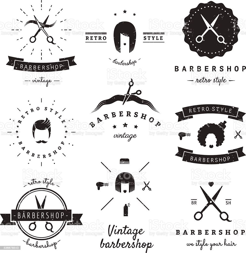Barbershop (hair salon) design elements vintage vector set. vector art illustration