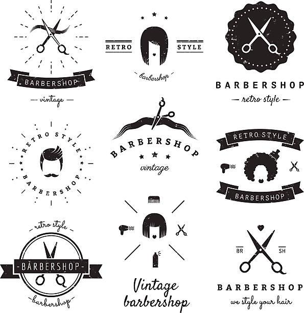 理髪店(ヘアサロン)デザイン要素のビンテージベクトルを設定します。 ベクターアートイラスト