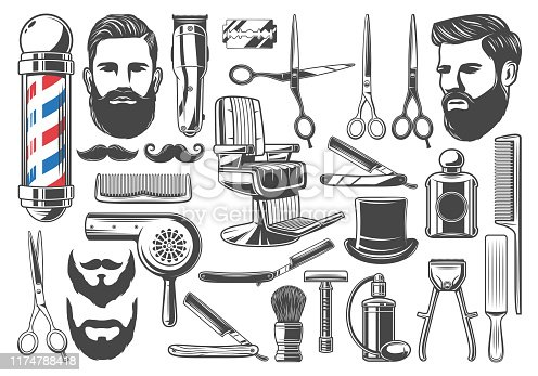 Barbershop tools and equipment, beard or mustache shave and haircut. Vector set of barber shop pole signage, chair or scissors, shaving brush, hair clipper and razor, hairdryer and hat