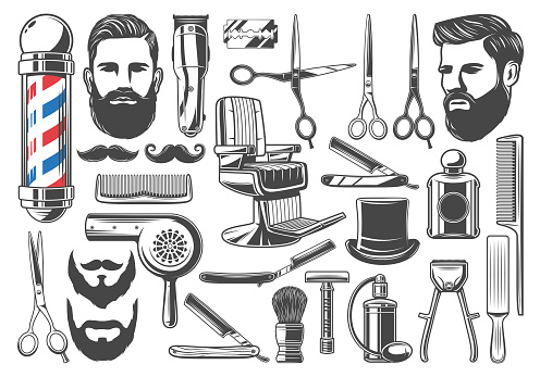 Barbershop haircut and shave equipment icons