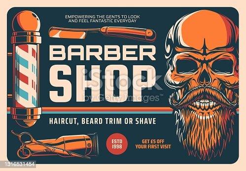 Barbershop, haircut, beard shave or trim banner