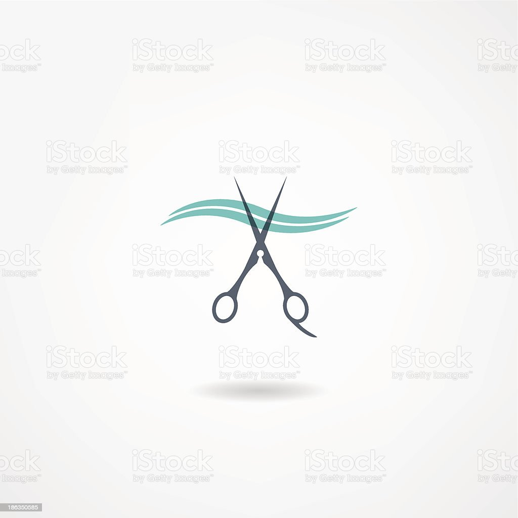 A barbershop icon featuring scissors and hair vector art illustration