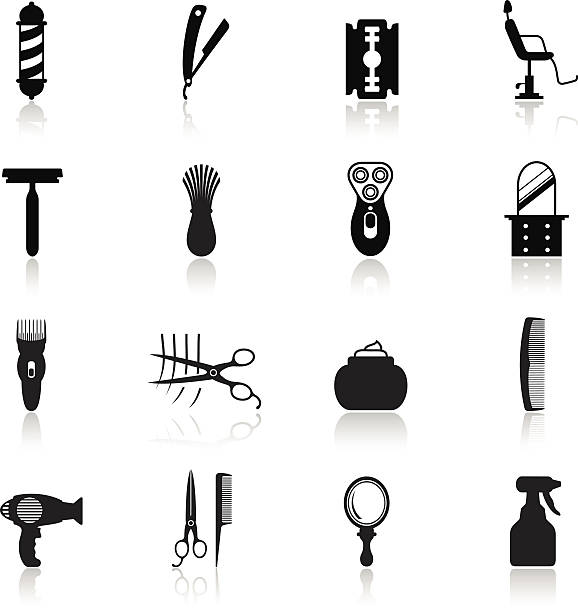 barbershop icon-set - rasieren stock-grafiken, -clipart, -cartoons und -symbole