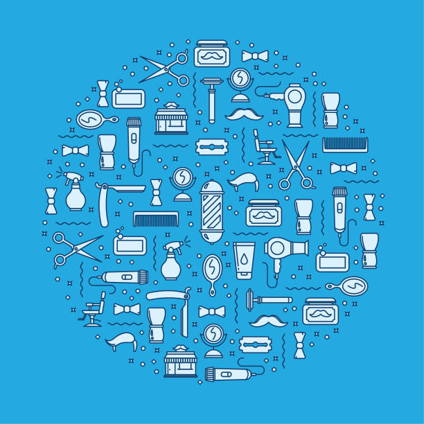 Barbershop icons background vector art illustration