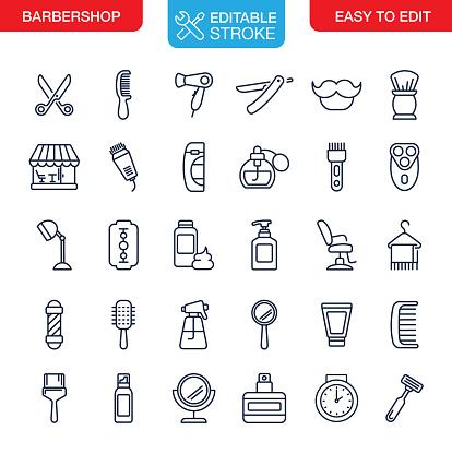 Barbershop Icons Set Editable Stroke