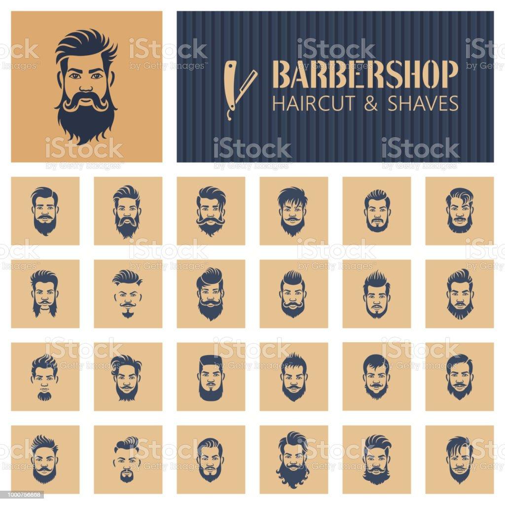 Ícones de barbearia - Vetor de Adulto royalty-free