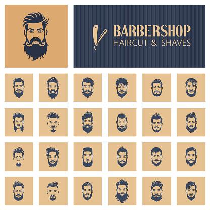 Vetores de Ícones De Barbearia e mais imagens de Adulto