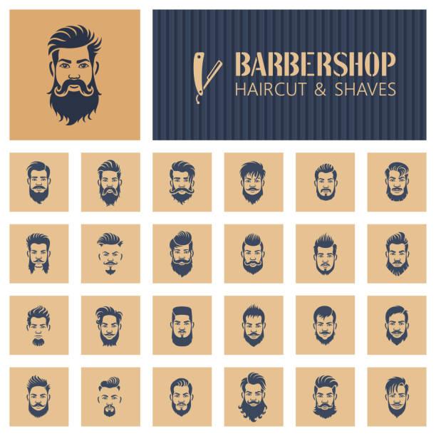 ilustraciones, imágenes clip art, dibujos animados e iconos de stock de iconos de barbería - moda de hombre