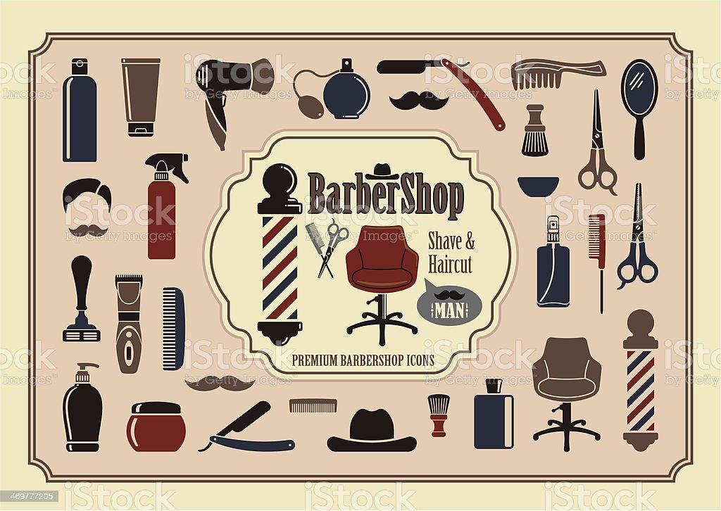 Barbershop icons royalty-free stock vector art