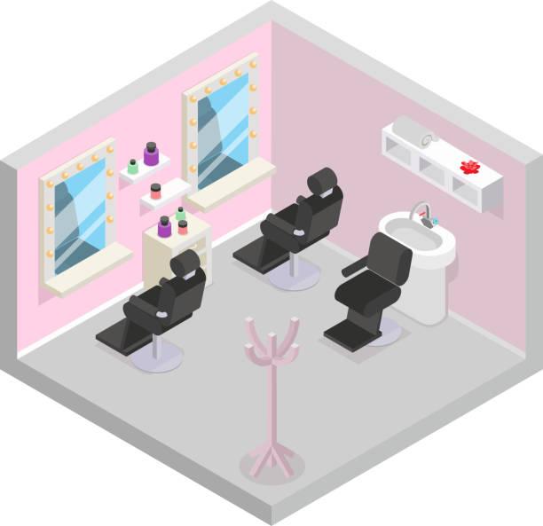 バーバーショップ・アイソメヘアウォッシュサロンルーム理容室デザインフラットベクトルイラスト - 美容室 3d点のイラスト素材/クリップアート素材/マンガ素材/アイコン素材