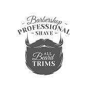 Barbershop label isolated on white background. Design element. Vector illustration
