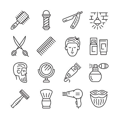 Barbershop line icon set.