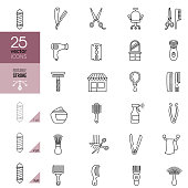 Barbershop line icon set. Editable Stroke.
