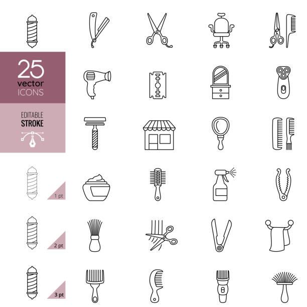 理髪店ラインアートのアイコンセット。編集可能なストローク。 - 美容室点のイラスト素材/クリップアート素材/マンガ素材/アイコン素材