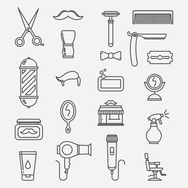 Barbershop lineart icons vector art illustration