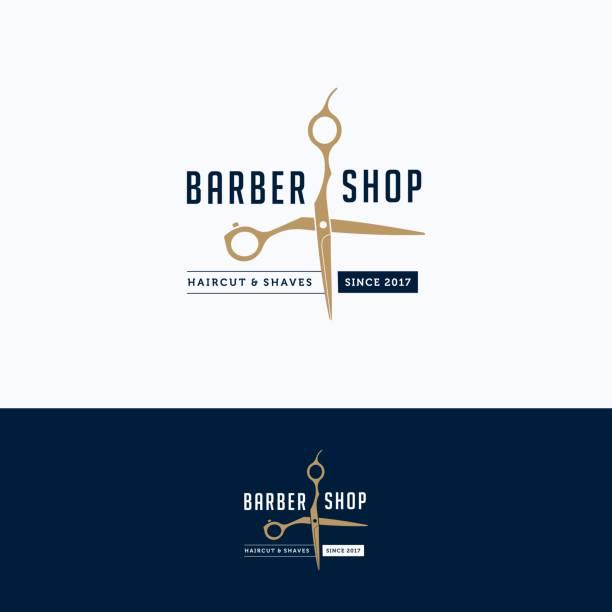 ilustrações, clipart, desenhos animados e ícones de logotipo de barbearia - salão de beleza