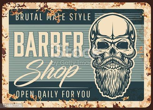 Barbershop, men hairdresser rusty plate vector