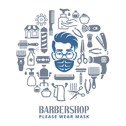 Barbershop. Opening after quarantine. Coronavirus pandemic COVID-19