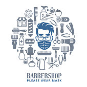 Barbershop. Opening after quarantine. Coronavirus pandemic COVID-19