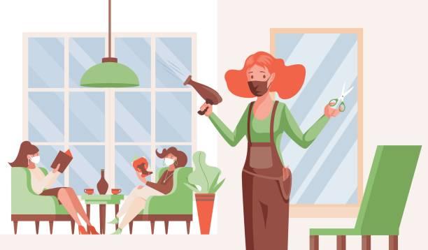 barbershop öffnet nach coronavirus ausbruch vektor flache illustration. friseur und kunden in medizinischen gesichtsmasken. - friseur lockdown stock-grafiken, -clipart, -cartoons und -symbole