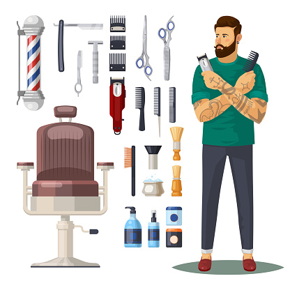Barbershop or hairdresser salon icons, accessories