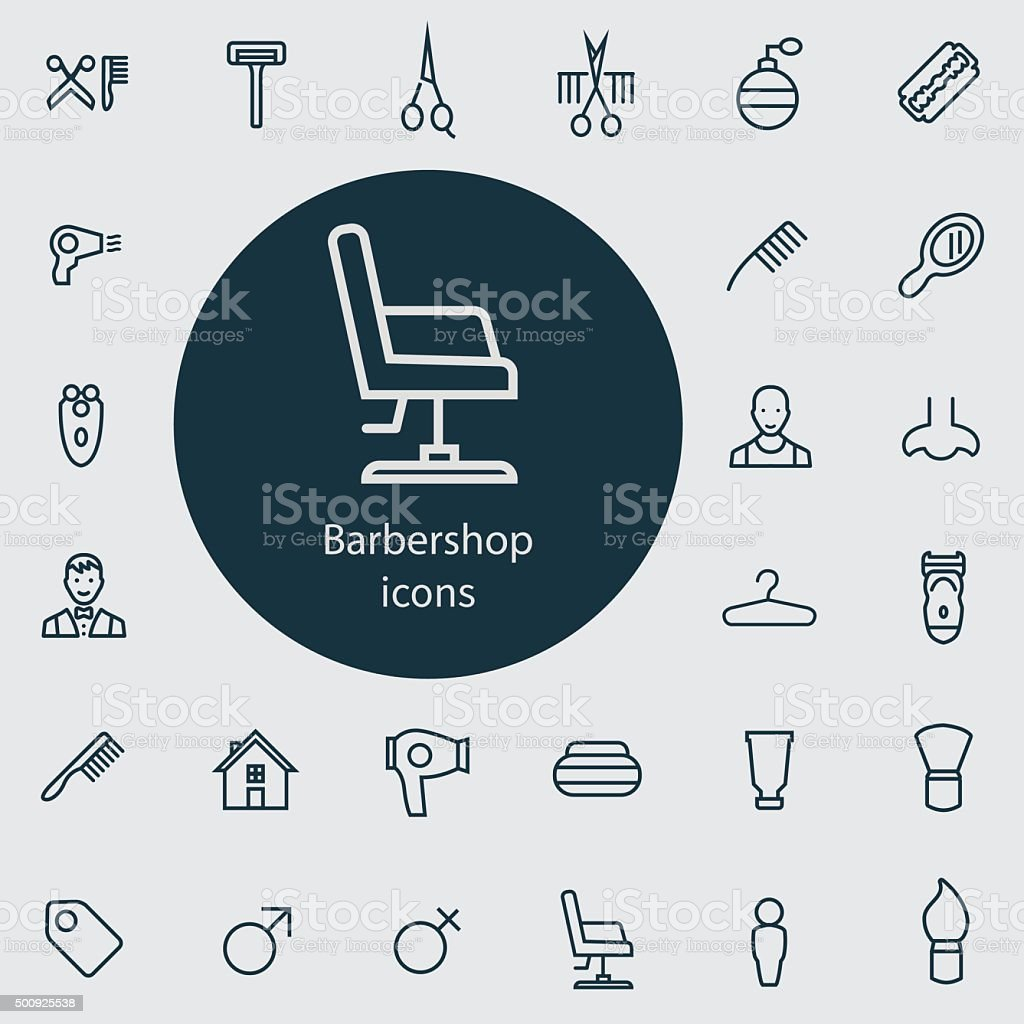 barbershop outline, thin, flat, digital icon set vector art illustration
