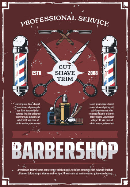 Barbershop pole, scissors, comb, razor and cologne vector art illustration