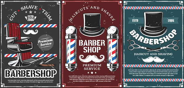 Barbershop poles, hairdresser chair and mustache